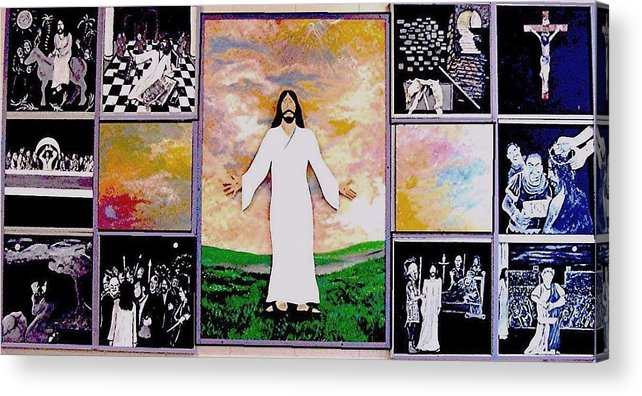 Jesus Acrylic Print featuring the relief All - 1 by Richard Hubal