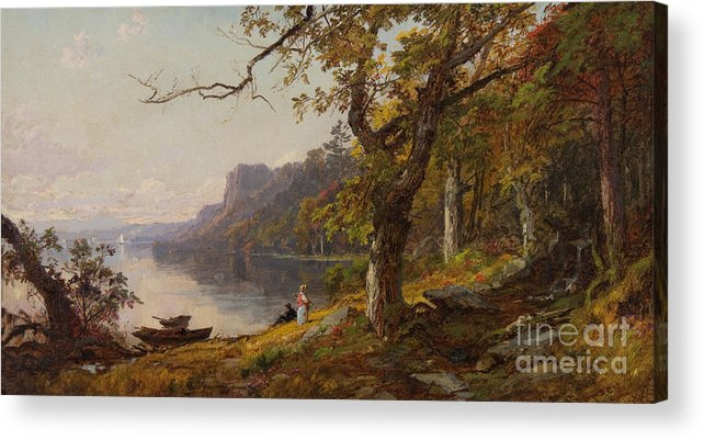 Jasper Francis Cropsey (american Acrylic Print featuring the painting Autumn On The Hudson by Celestial Images