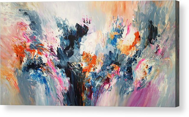 Original Acrylic Print featuring the painting Expressive Abstraction L 1 by Peter Nottrott