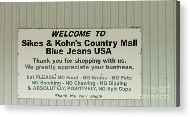 Country Sign Acrylic Print featuring the photograph Here's Your Sign by Judy Waller