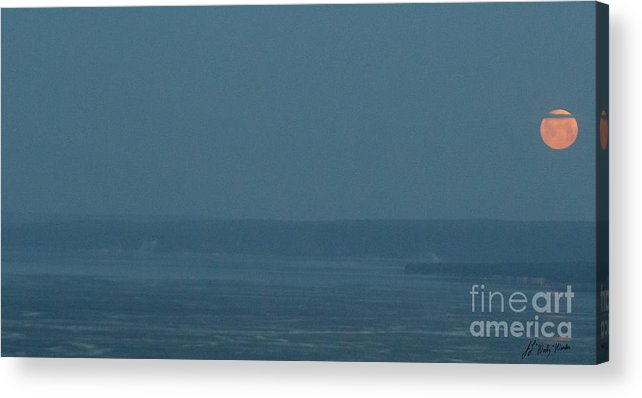 Moon Acrylic Print featuring the photograph Moon Set Yellowstone Lake-signed-#4396 by J L Woody Wooden