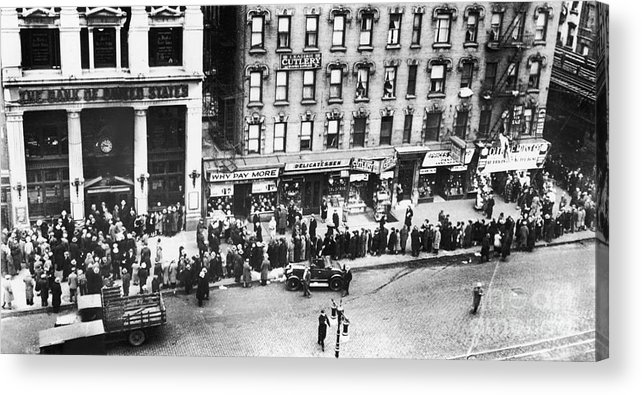 1930 Acrylic Print featuring the photograph New York: Bank Run, 1930 by Granger
