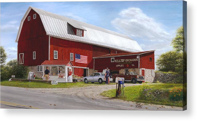 Large Red Barn Acrylic Print featuring the painting Red Delicious by Doug Kreuger