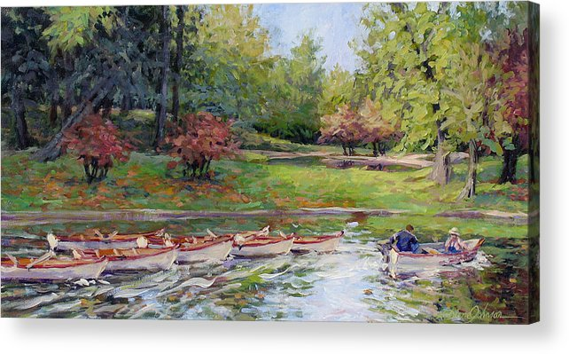 Paris Park Acrylic Print featuring the painting Remembering Paris by L Diane Johnson