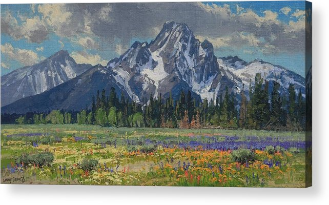 Landscape Acrylic Print featuring the painting Spring In Wyoming by Lanny Grant
