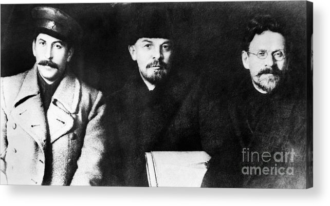 1919 Acrylic Print featuring the photograph Stalin, Lenin & Trotsky by Granger