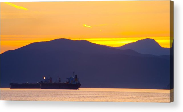 Vancouver Acrylic Print featuring the photograph Sunset And Tanker by Paul Kloschinsky