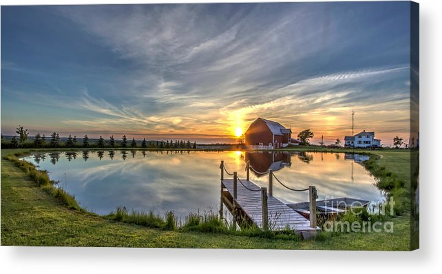 Adjective Acrylic Print featuring the photograph Sunset Over Country Farm by Patti Larson