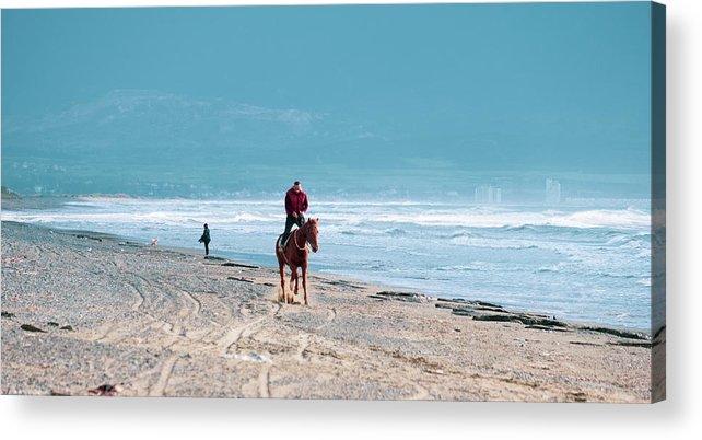 Akdeniz Acrylic Print featuring the photograph Man Riding On A Brown Galloping Horse On Ayia Erini Beach In Cyp by Iordanis Pallikaras
