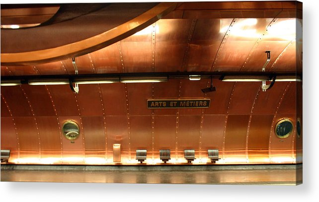Acrylic Print featuring the photograph Arts Et Metiers Metro by A Morddel