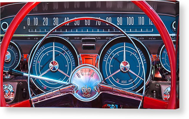 Car Acrylic Print featuring the photograph 1959 Buick Lesabre Steering Wheel by Jill Reger