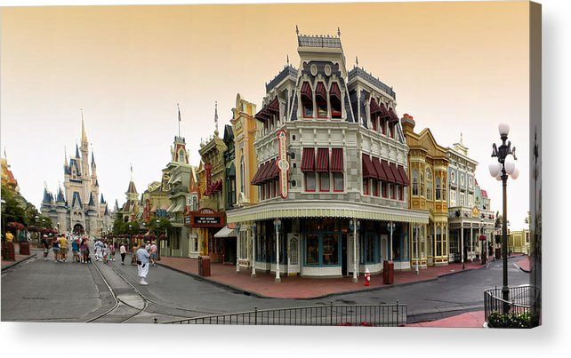Magic Kingdom Acrylic Print featuring the photograph Before The Gates Open Early Morning Magic Kingdom With Castle. by Thomas Woolworth