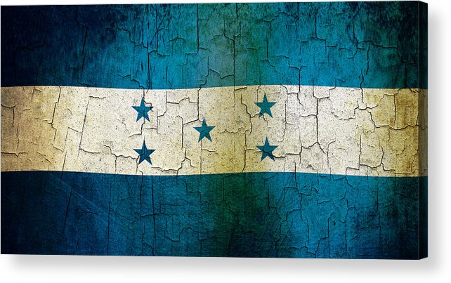 Aged Acrylic Print featuring the digital art Grunge Honduras Flag by Steve Ball