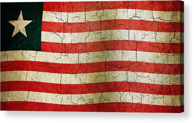 Aged Acrylic Print featuring the digital art Grunge Liberia Flag by Steve Ball