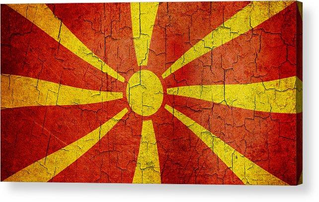 Aged Acrylic Print featuring the digital art Grunge Macedonia Flag by Steve Ball