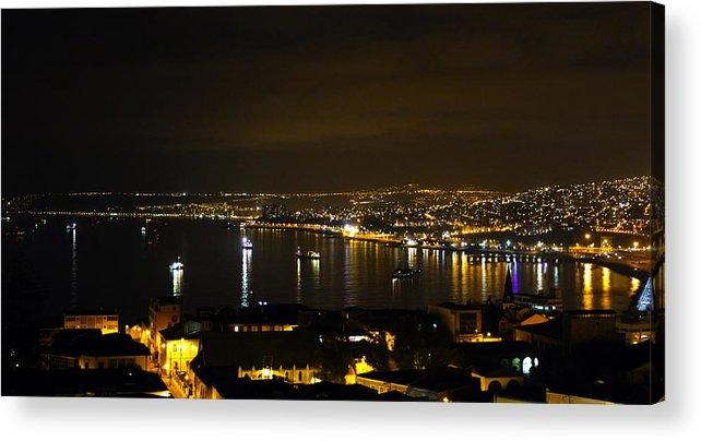 Valparaiso Acrylic Print featuring the photograph Valparaiso Harbor At Night by Kurt Van Wagner