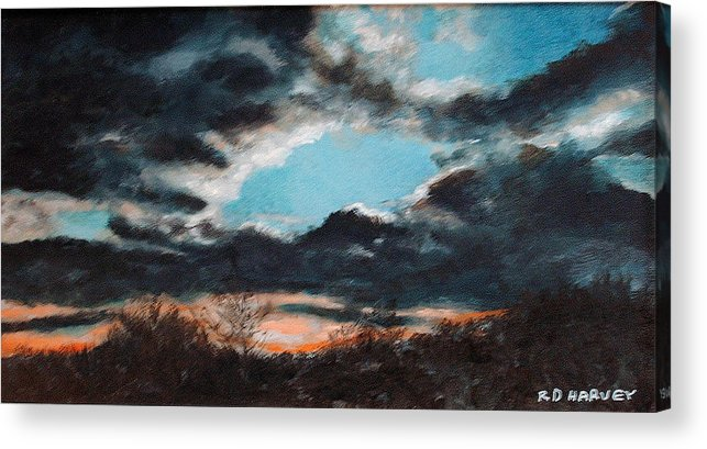 Dark Clouds Acrylic Print featuring the painting Winter Sunset by Robert Harvey
