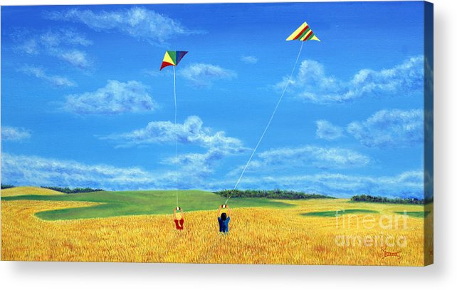 Prairies Acrylic Print featuring the painting Wonderfull Wind by Blaine Filthaut