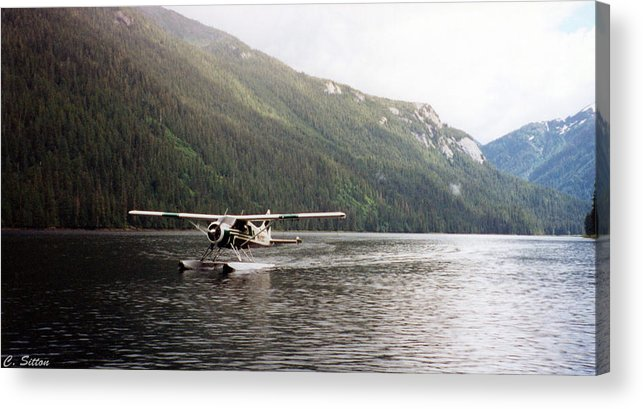 Alaska Photographs Acrylic Print featuring the photograph Airplane On Lake by C Sitton