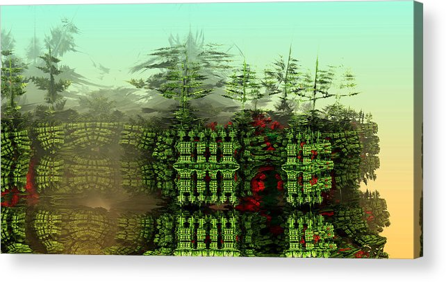 Digital Digital Art Acrylic Print featuring the digital art Dancing Trees On Alien Cliffs by Richard Ortolano