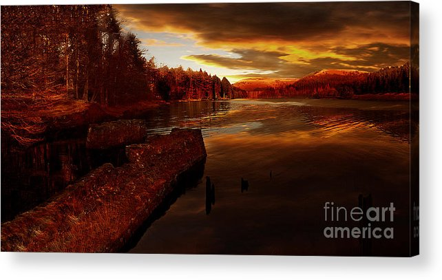 Derwent Reservoir Acrylic Print featuring the photograph The Last Trains by Nigel Hatton