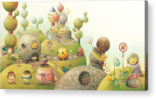 Green Lanscape Tree Acrylic Print featuring the painting Lisas Journey06 by Kestutis Kasparavicius