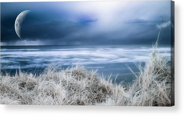 Infrared Acrylic Print featuring the photograph Blue Ocean Shore by Evan Sharboneau