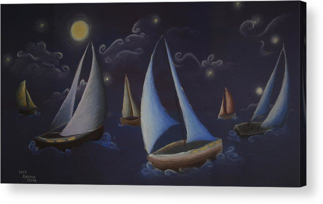 Sailing Acrylic Print featuring the pastel Come Sail Away by Amanda Clark