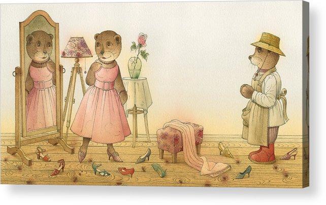 Love Flirt Glamour Bears Amour Rose Fashion Acrylic Print featuring the painting Florentius The Gardener16 by Kestutis Kasparavicius