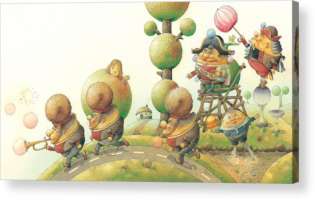 Green Lanscape King Acrylic Print featuring the painting Lisas Journey05 by Kestutis Kasparavicius