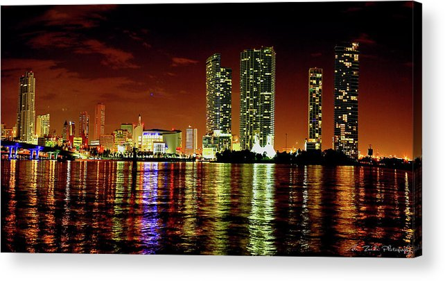 Miami Acrylic Print featuring the photograph Miami At Night -1 by Ali Zaidi