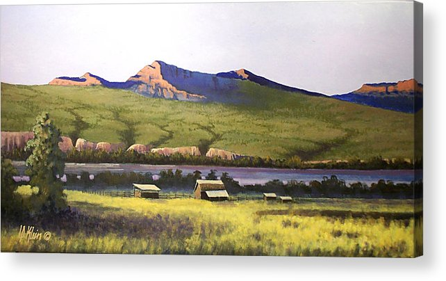Landscape Acrylic Print featuring the painting Old Homestead by Dalas Klein