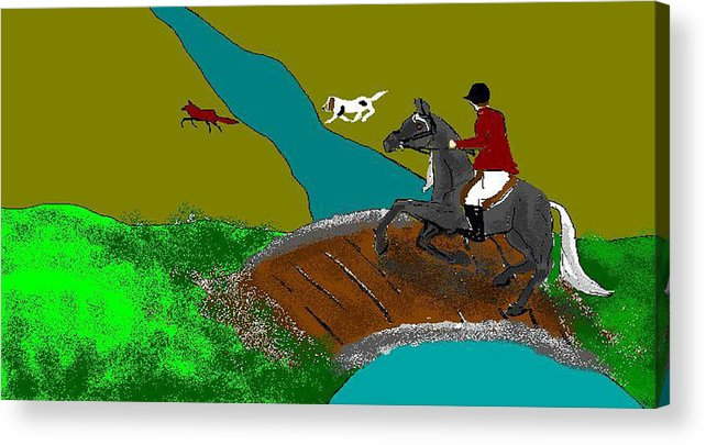 Horses Acrylic Print featuring the digital art Out-foxed by Carole Boyd
