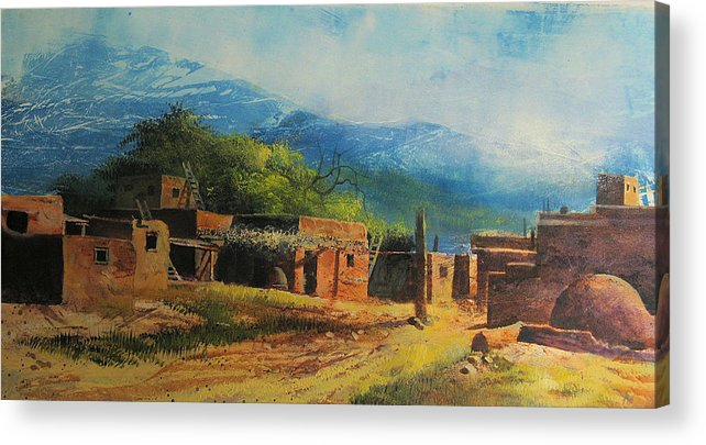 Landscape Acrylic Print featuring the painting Southwest Village by Robert Carver