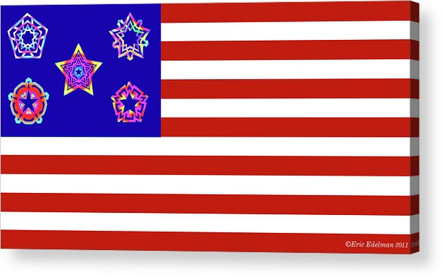 Pentacle Acrylic Print featuring the digital art Stars And Stripes Of Retrocollage by Eric Edelman