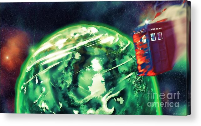 Doctor Who Acrylic Print featuring the digital art Tardis Crash Landing by Robert Radmore