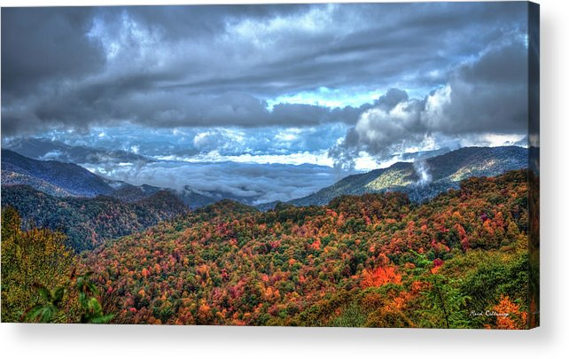 Reid Callaway Up In The Clouds Acrylic Print featuring the photograph Up In The Clouds Blue Ridge Parkway Mountain Art by Reid Callaway