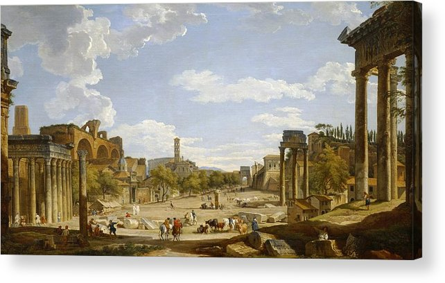 View Acrylic Print featuring the painting View Of The Roman Forum by Giovanni Paolo Panini