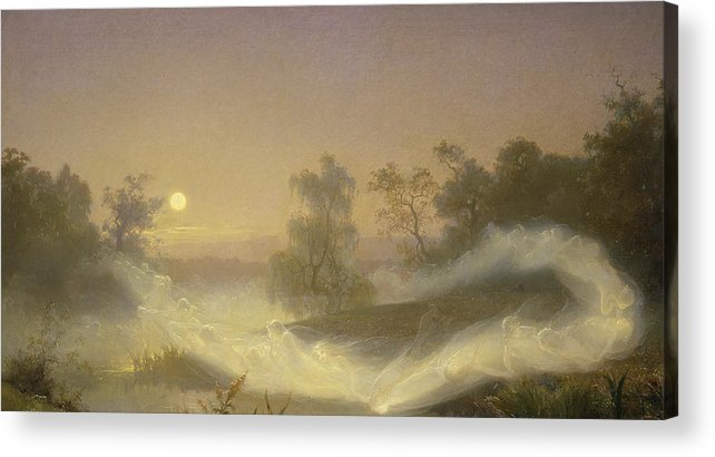 Spirit Acrylic Print featuring the painting Dancing Fairies by August Malmstrom