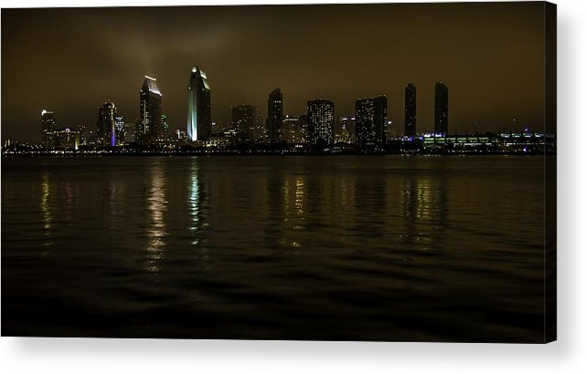 San Diego Acrylic Print featuring the photograph A Foggy Night In San Diego by Chuck De La Rosa