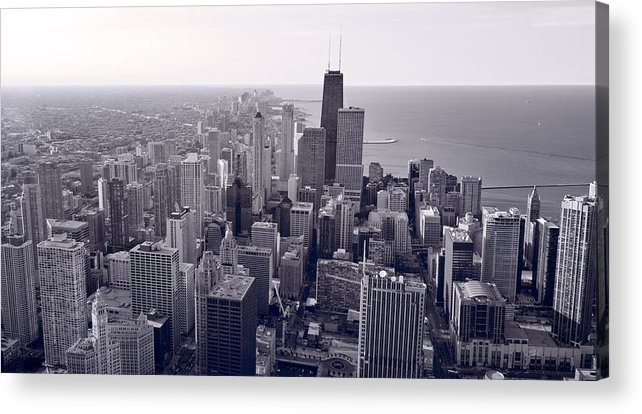 Aerial Acrylic Print featuring the photograph Chicago Bw by Steve Gadomski