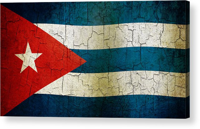 Aged Acrylic Print featuring the digital art Grunge Cuba Flag by Steve Ball