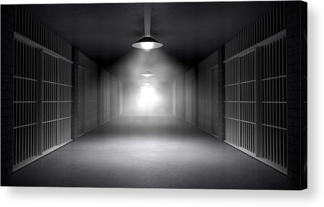 Jail Acrylic Print featuring the digital art Haunted Jail Corridor And Cells by Allan Swart