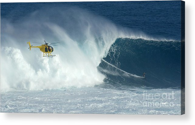 Laird Hamilton Acrylic Print featuring the photograph Laird Hamilton Going Left At Jaws by Bob Christopher