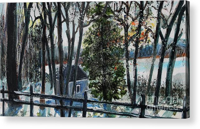 Walden Pond Acrylic Print featuring the painting Out Of The Woods At Walden Pond by Rita Brown