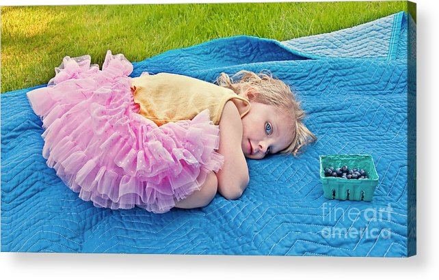 3 Year Old Girl Acrylic Print featuring the photograph Summer Rest With Blueberries by Valerie Garner