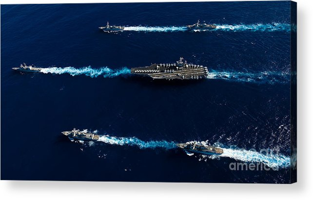 Uss John C Stennis Acrylic Print featuring the photograph Ships From The John C. Stennis Carrier by Stocktrek Images