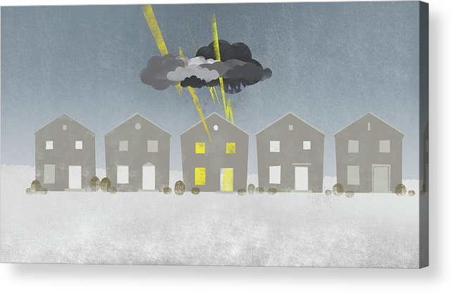 Horizontal Acrylic Print featuring the digital art A Row Of Houses With A Storm Cloud Over One House by Jutta Kuss