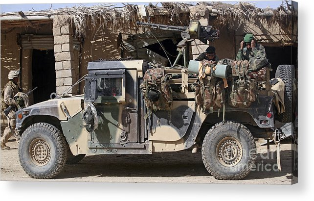 Village Acrylic Print featuring the photograph Afghan National Army Soldiers Prepare by Stocktrek Images