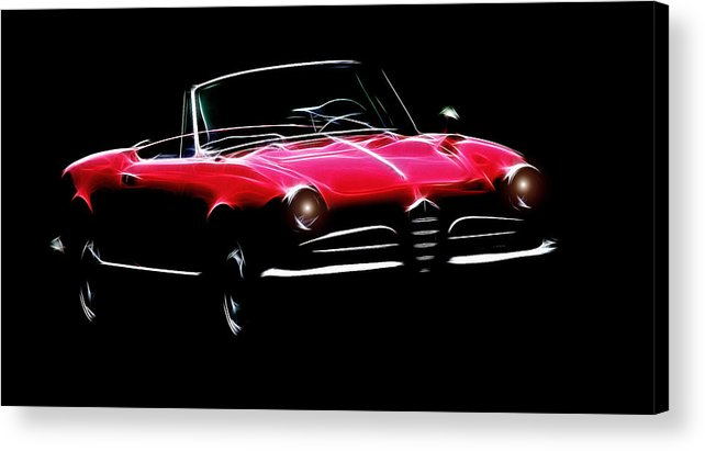 Alfa Romeo Spider Giulia 1600 Car Oldtimer Digital Painting Black White Expressionism Impressionism Motor Sport Sports Acrylic Print featuring the digital art Red Alfa Romeo 1600 Giulia Spider by Steve K